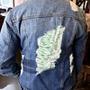 Medium Wash Oversized Distressed Denim Jacket