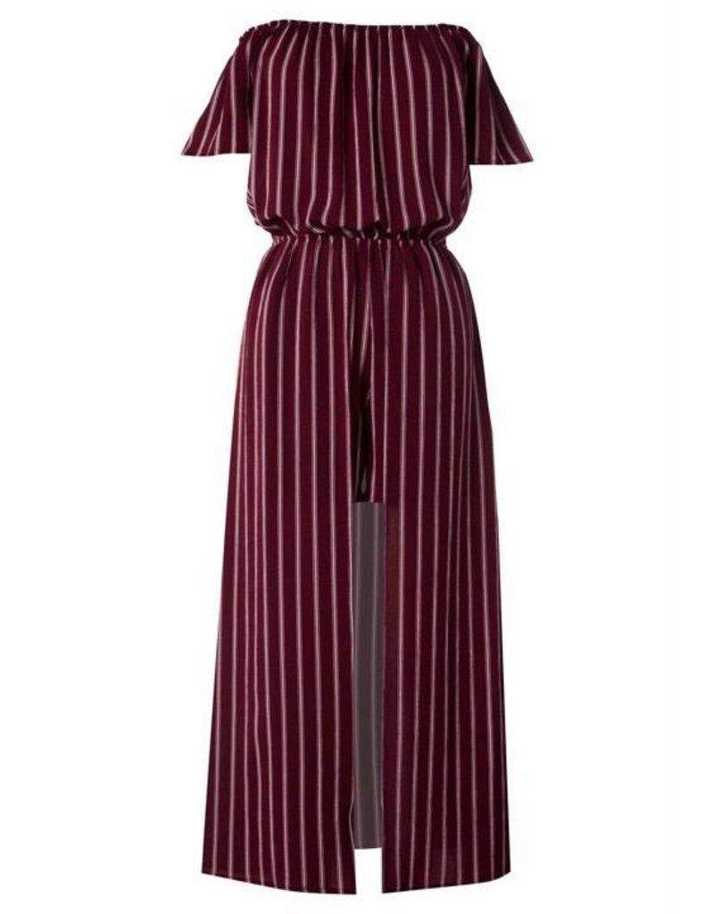 Burgundy Striped Off Shoulder Maxi-Romper