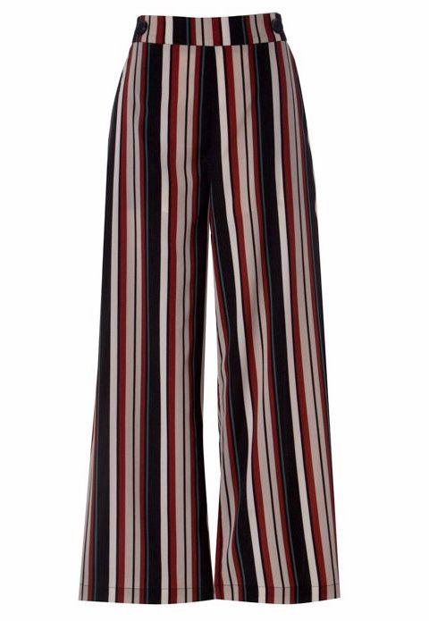 Black/Rust Striped High Rise Pant
