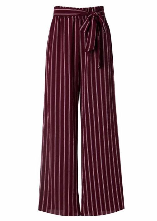 Burgundy Striped Self Tie Pants