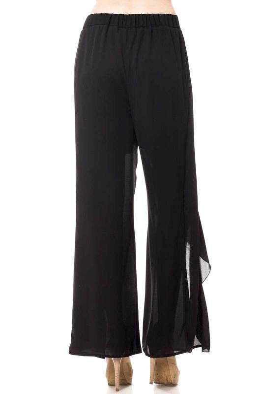 Black Overlay Front Tie Pants