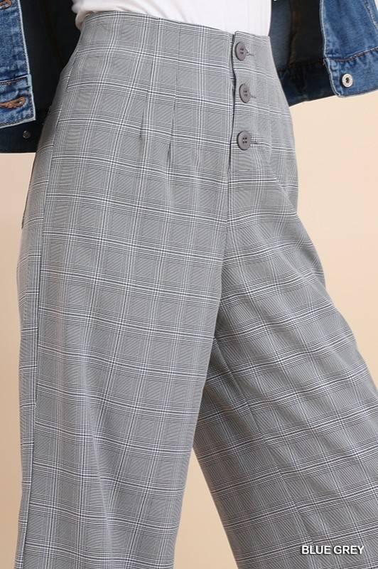 Black White Grey Plaid High Waisted Wide Leg Pants