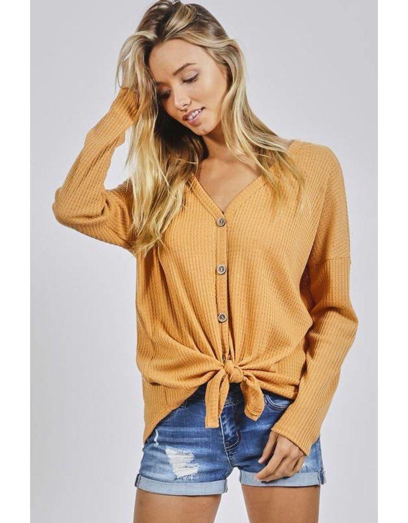 Mustard LS Knit Button Detail Top