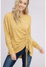 Mustard Ruched Drawstring Knit Top