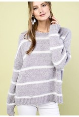 Grey Striped Chenille Sweater