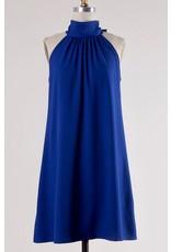 Royal Blue Mock Neck Sleeveless Dress