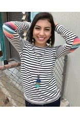 Ivory Striped LS Top w/ Multi Colored Elbow Patches