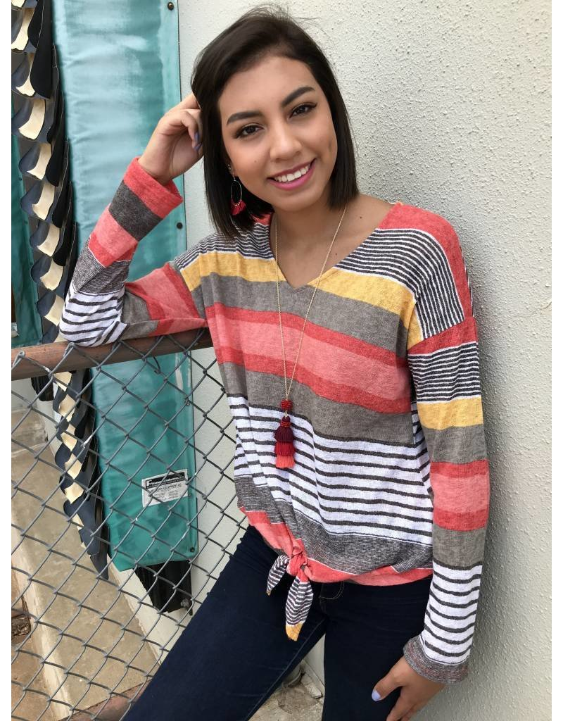 Coral Multi Colored Striped LS Knotted Top