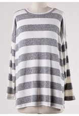 White and Grey Striped LS Round Neck Top