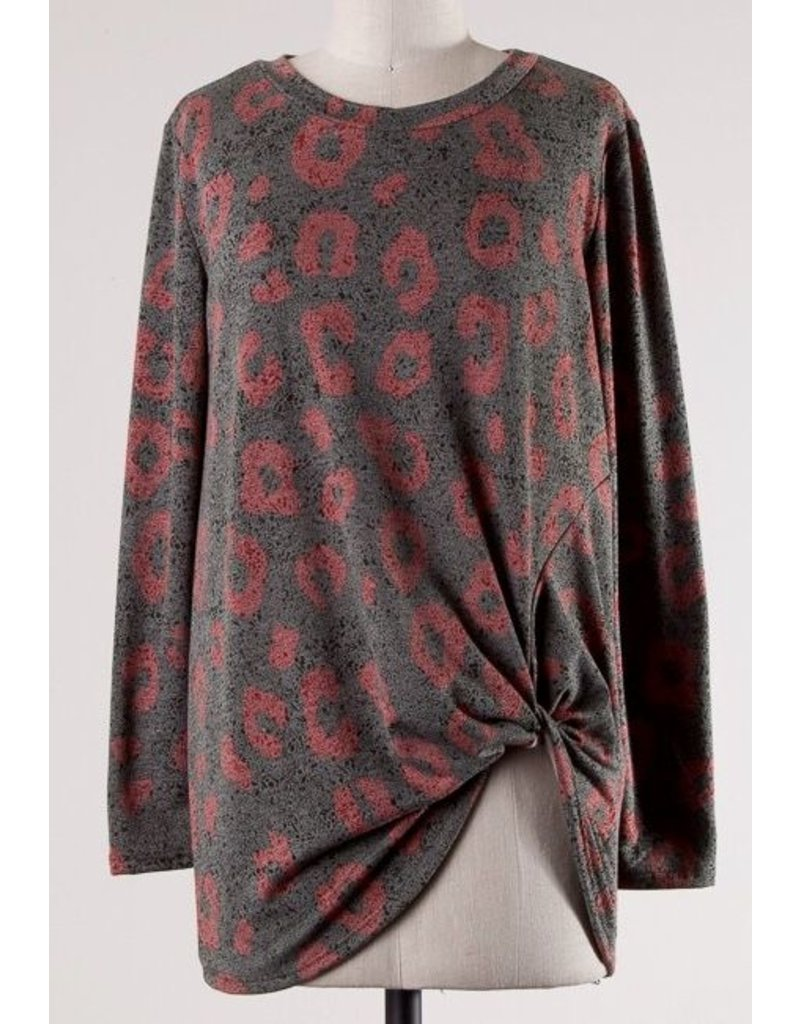 Olive and Burgundy Leopard LS Knotted Top