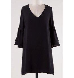 Black 3/4 Length Bell Sleeve V-Neck Dress
