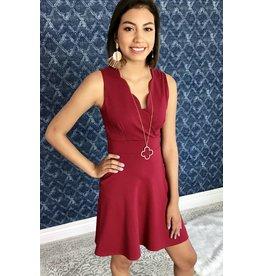 Burgundy Crossover Cut Dress