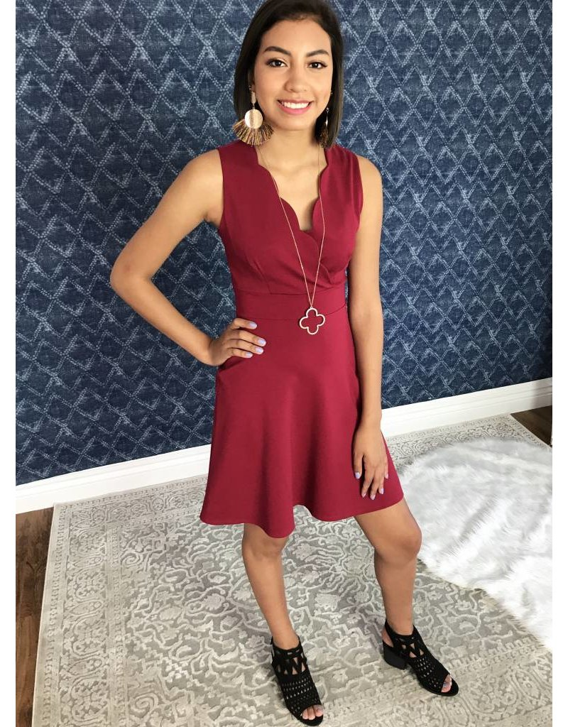 Burgundy Crossover Cut Dress