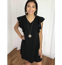 Black V-Neck Ruffle Sleeve Dress