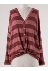 Burgundy Striped Button Detail LS Front Tie Top