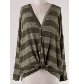 Olive Striped Button Detail LS Front Tie Top