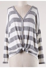 Ivory and Heather Grey Striped Button Detail LS Front Tie Top
