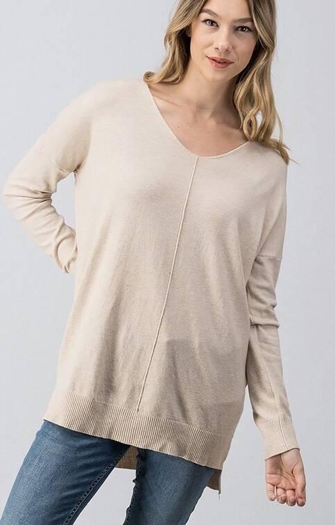 Oatmeal Crew Neck Sweater Top
