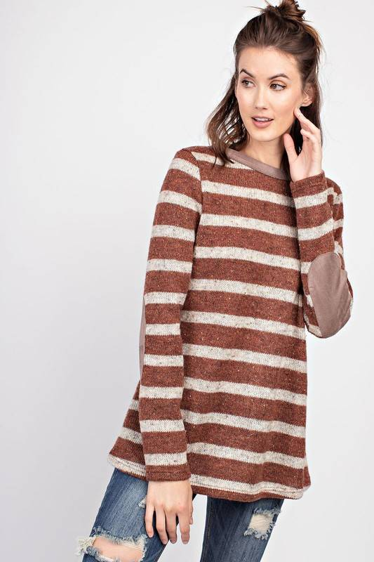 Faded Rust Striped Sweater with Elbow Patch