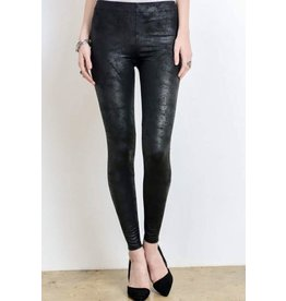 Black Faux Leather Legging with Zipper