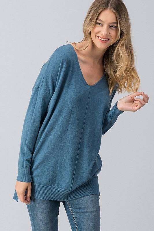 Denim V- Neck Sweater Top
