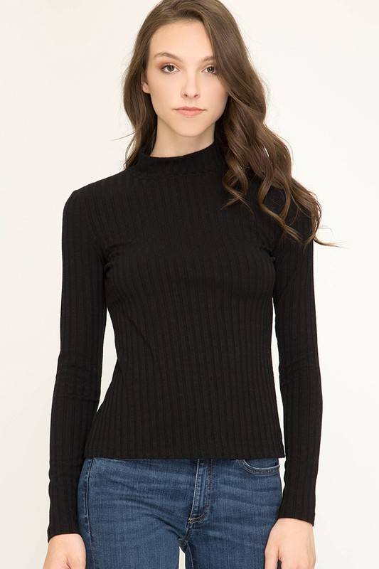 Black LS Mock Neck Ribbed Top