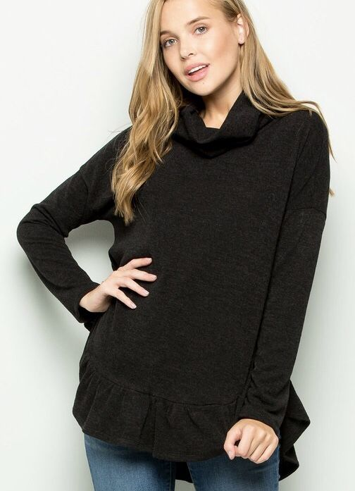 Black Cowl Neck Ruffle Sweater