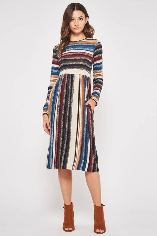 Multi Striped LS Midi Dress