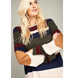 Burgundy/Olive Color Block Top with Suede Elbow Patch
