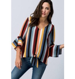 Multi Colored Striped Front Knot Top w/ Bell Sleeve