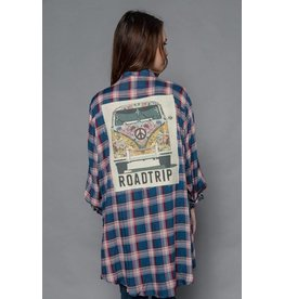 Blue and Pink Plaid LS Top w/ Roadtrip Back Patch