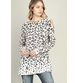 Ivory and Grey Leopard Print Cold Should LS Top
