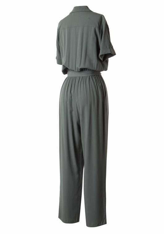 Olive Short Sleeve Button Up Jumpsuit