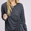 Black Ruched Drawstring Knit Top