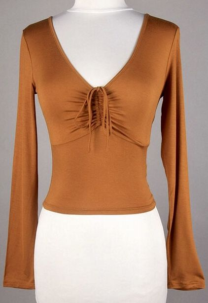 Camel V-Neck Fitted Top w/ Ruched Front