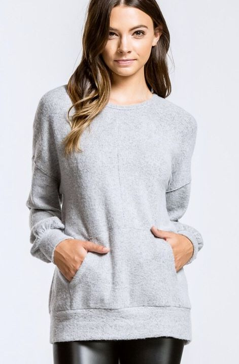 Heather Grey Brushed Texture Top w/ Front Pocket