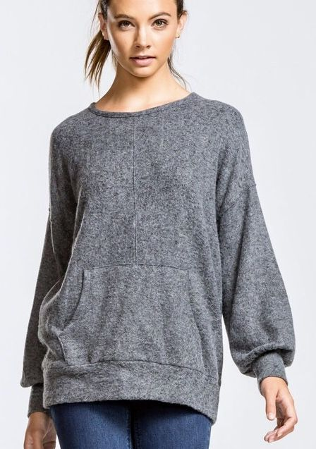 Charcoal Brushed Texture Top w/ Front Pocket