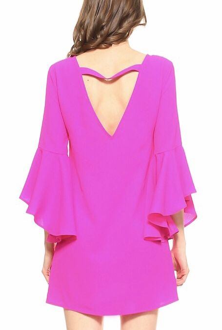 Hot Pink Dress with Bell Sleeve