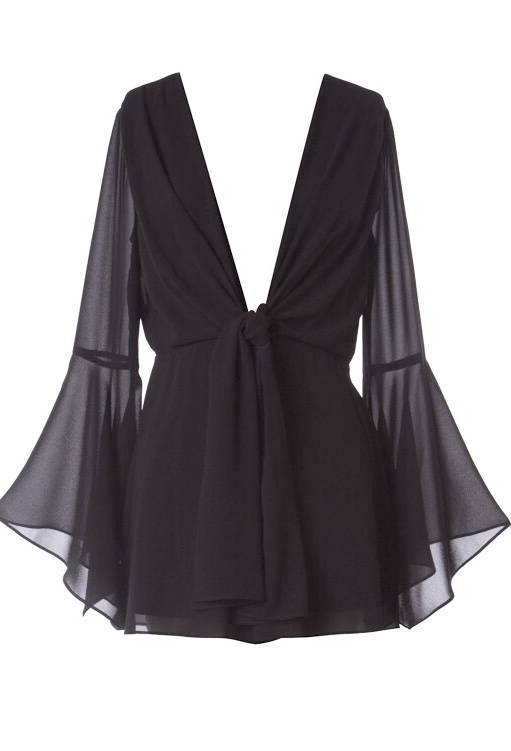 Black Deep V Romper with Bell Sleeve