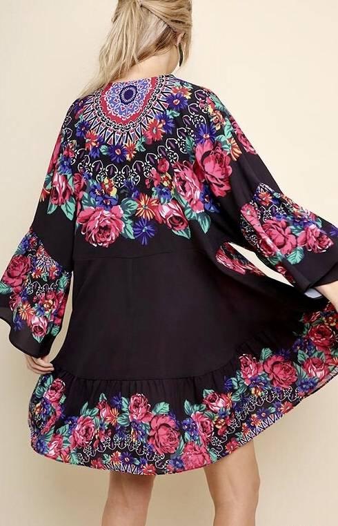 Black Floral and Medallion Print Bell Sleeve V-Neck Tunic