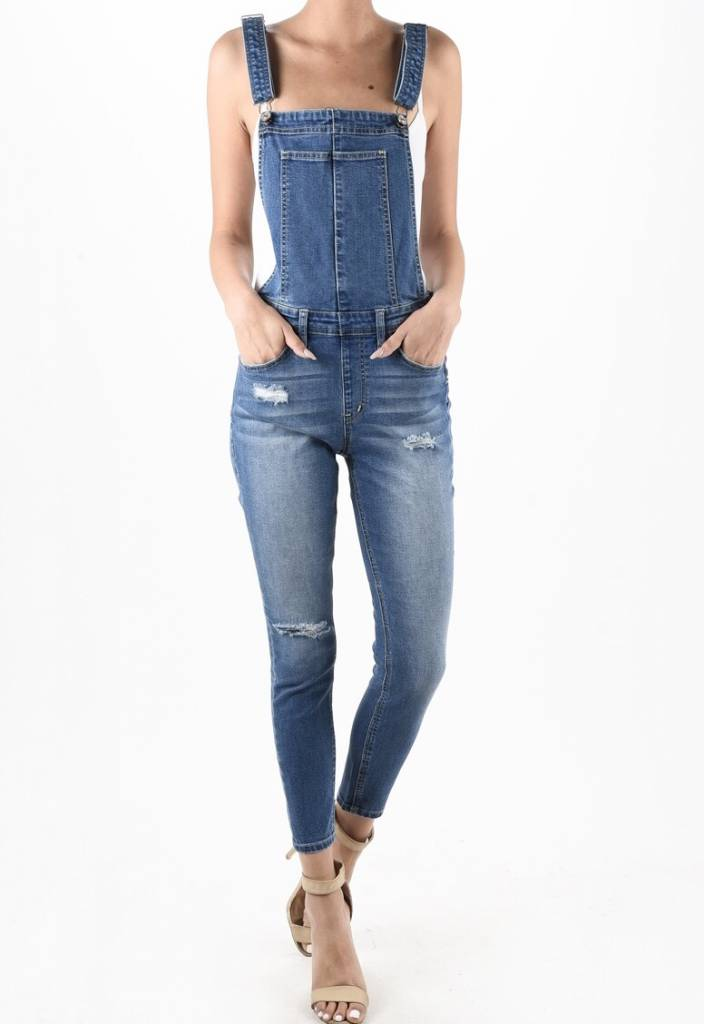 Medium Wash Side Zipper Detail Overalls