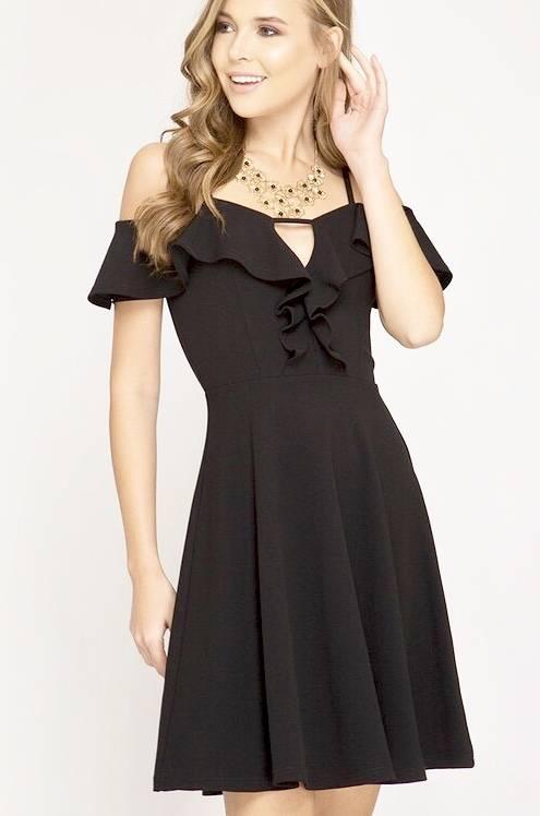 Black Cold Shoulder Ruffle Detail Flare Dress