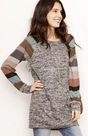 Black Two Tone Tunic w/ Multi Colored Striped Sleeves