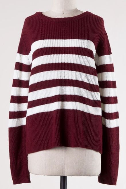 Burgundy Striped Knit Sweater