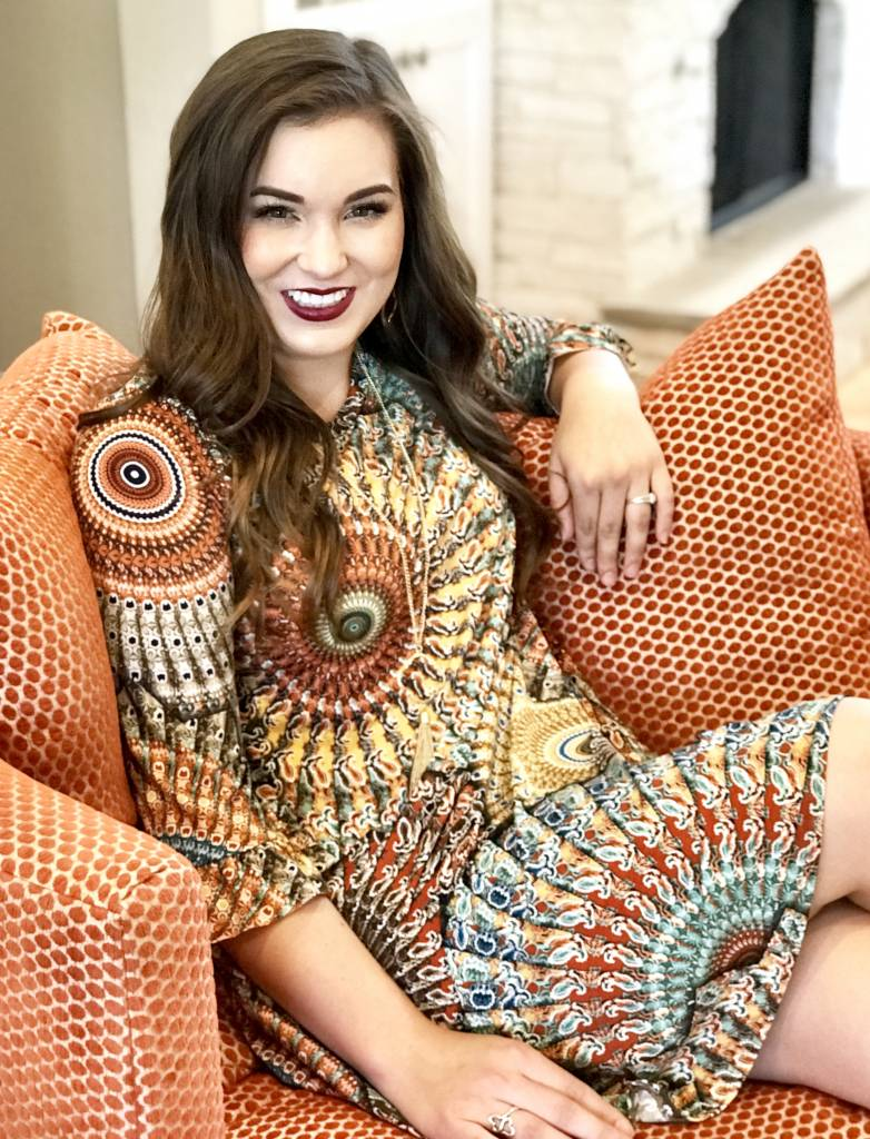 Brown Printed Tunic with Bell Sleeve