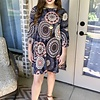 Charcoal Grey and Coral Geometric Print Bell Sleeve Tunic Dress