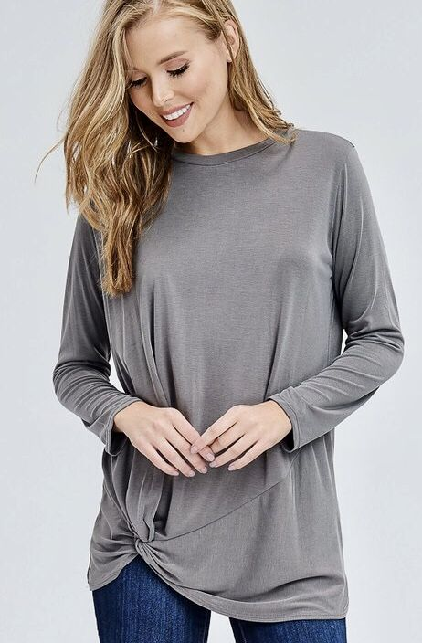 Grey LS Knotted Top