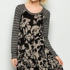 Black and Taupe Floral Print w/ Striped Sleeves Tunic Dress
