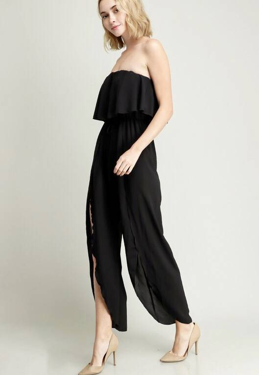 Black Overlay Ruffle Jumpsuit