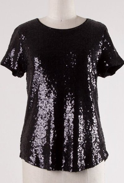 Black Sequin SS Top